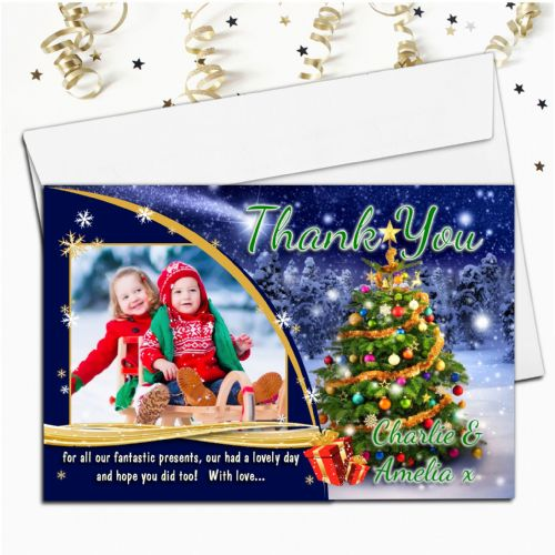 10 Personalised Christmas Xmas Tree Sparkle Thank you PHOTO Cards N47